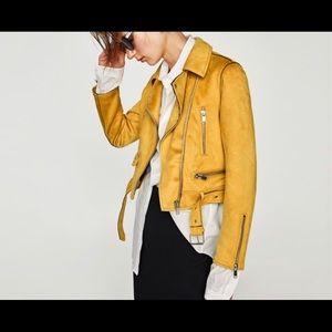 Zara yellow suede biker jacket sz XL